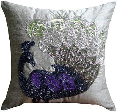 The HomeCentric Luxury Silver Pillow Peacock Shams Pillo 全商品オープニング価格 Beaded 買収