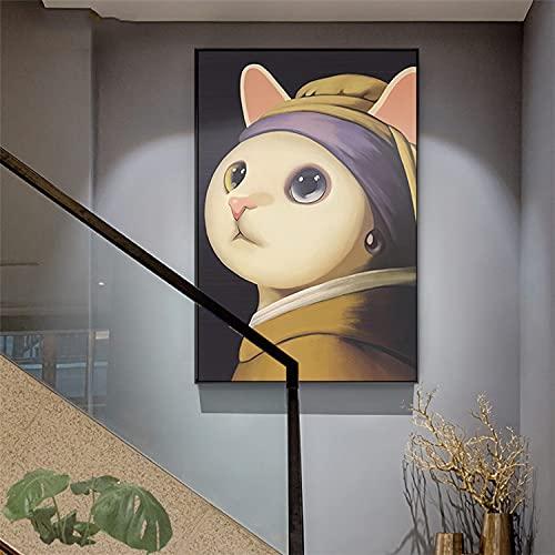 ZWWGZRSH Sin Marco Chica Gato con Pendientes de Perlas Pintura en Lienzo Pintura Famosa Obra de Arte Chica artística Grabado decoración del hogar Pintura 50x70cm