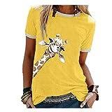 N\P Jirafa Gráfico Camisetas Mujeres Casual Lindo O Cuello Manga Corta Preciosas Camisetas Señora...