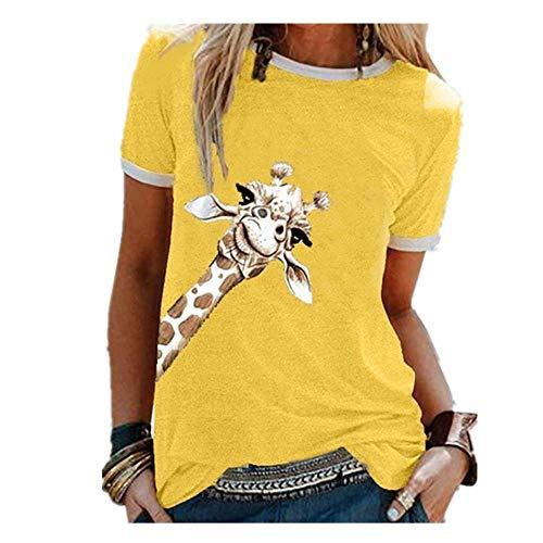 N\P Jirafa Gráfico Camisetas Mujeres Casual Lindo O Cuello Manga Corta Preciosas Camisetas Señora Ropa - amarillo - X-Large