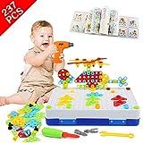 LEADSTAR Jeu Mosaique Enfant, 3D Jeu de Construction, Perceuse Electrique Magique, Educatif Cadeau Montessori 3 Ans pour Fille Garcon, Puzzle Créatifs - 237 Pcs