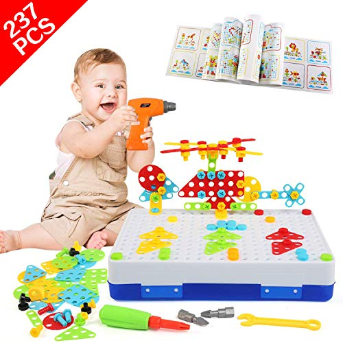 LEADSTAR Electric Drill 3D Puzzle Toy, 237Pcs Mosaic Pegboard Construction Toys, Educational Creative Building Blocks Set with Storage Box, Screw Nuts Tools, Take Apart Games, Best Gifts for Kids