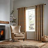 Catherine Lansfield Thermal Woven Check Cortinas con Ojales, Mezcla de algodón, Ocre, Eyelet Curtains-90x90 Inch