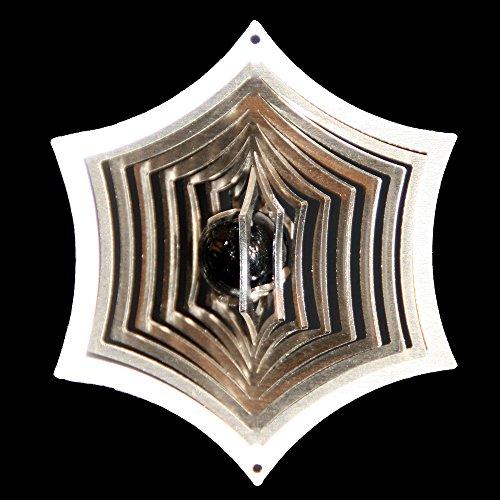 Roestvrij stalen windspel spinnennet Ø-8,5 cm met glazen bol Ø-16 mm (zwart) voor de tuin en als raamdecoratie