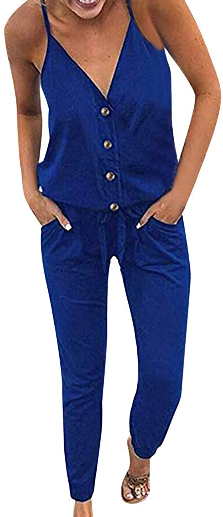 KYLEON Women's Great interest Jumpsuits V Neck Our shop OFFers the best service Spaghetti Drawstring Waist Strap