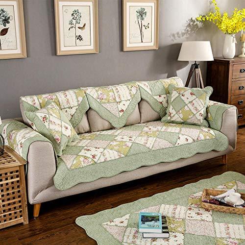 Hybad Funda Sofa Cama,Protector de sofá Floral,Fundas de sofá de algodón,Funda de sofá Antideslizante,Mascota Resistente a los niños,niños juegan Mat-Green_90 * 90cm-Cada Pieza se Vende por Separado