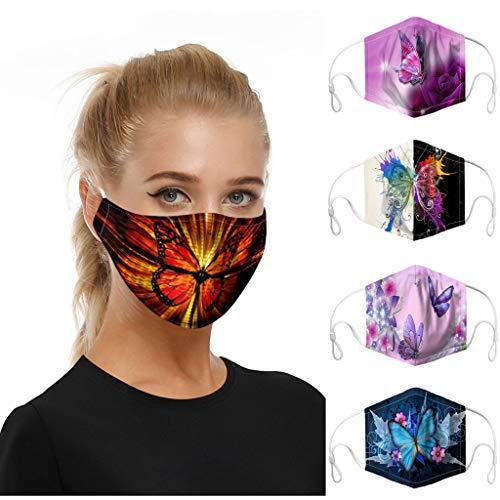 eiuEQIU 5X Premium Design Mundschutz Wiederverwendbar Print , Hochwertiges Gesichts-Tuch Waschbar, 2-lagige Stoff Mund Nasen , Alltagsmaske Staubschutz für Damen, Herren