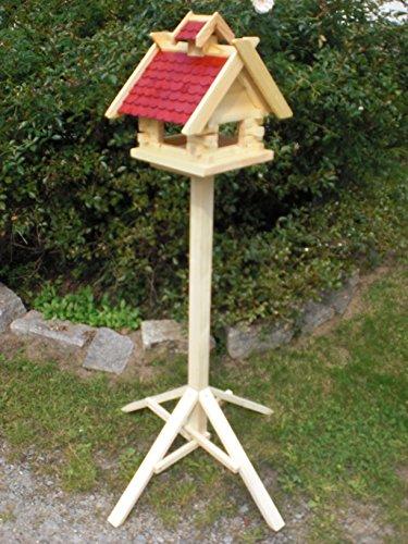 Vogelhaus mit Ständer-(V02+S1)Rot- Vogelhäuser Vogelfutterhaus Vogelhäuschen-aus Holz- Schreinerarbeit-