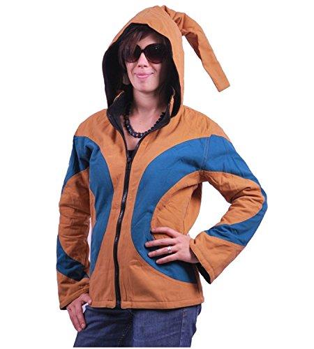 KUNST UND MAGIE PSY Goa Jacke mit Zipfelkapuze Fleecefutter Hippie Ocker/blau, Größe/Size:S