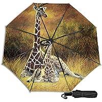 Giraffe 防風二重層通気性トラベル傘、サン傘、防水コーティング生地、持ち運びや旅行が簡単。