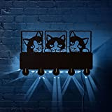 hclshops Gato de Gato de Peeping Gancho de Pared con la Parte Posterior llevada iluminada con Ropa de Gato de la Pared de la Pared de la Pared del Gatito del Gatito del Gatito de Las Mascotas Gancho