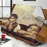 zblin Renaissance Angels Winged Cherubs Boutique Blankets Soft Comfortable Plush Microfiber Flannel Blanket 80x60inch
