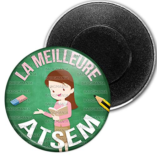 Badgmania Magnet Aimant Frigo 5.9 cm La Meilleure Atsem - Gomme Crayon Fond Vert - Ecole