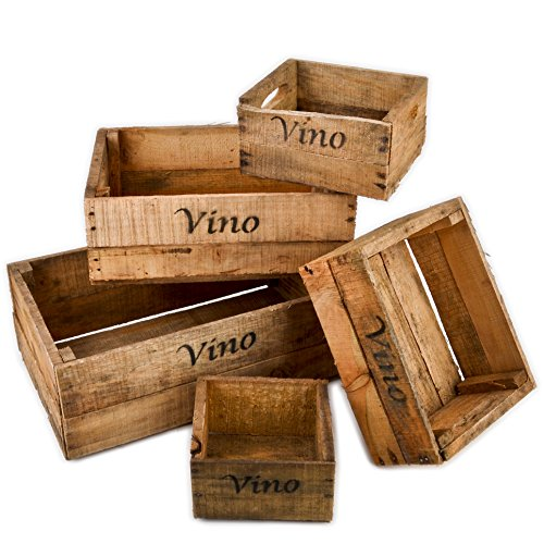 Dadeldo Holzkisten 5er Set Vino Wein Motiv Vintage-Used Design Weinkisten Landhaus Kolonial