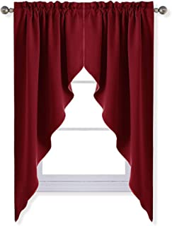 NICETOWN Blackout Kitchen Tier Curtains- Tailored Scalloped Valance/Swags for Basement Decor on Christmas & Thanksgiving Day (1 Set, 72 inches Wide Combined, 63 inches Long, Burgundy)