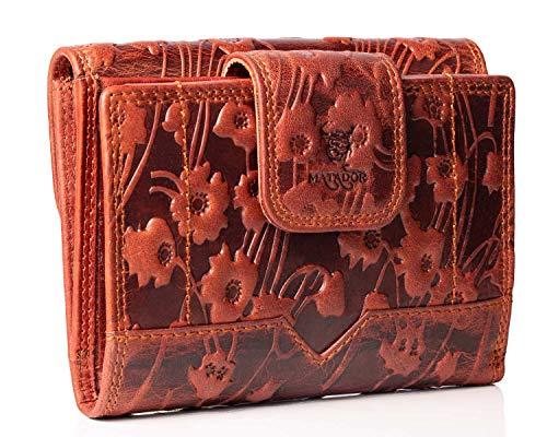 MATADOR Echt Leder Damen Geldbörse RFID & NFC Schutz Blumen Vintage Braun