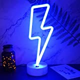 YIVIYAR Lightning Bolt Neon Sign, USB Charging/Battery Blue Neon Light Cool Things Kids Room Decor for Boys Bedroom Lighting Cool Lamps for Teens Bedroom Cool Gadgets Cool Room Decor(Lightning)