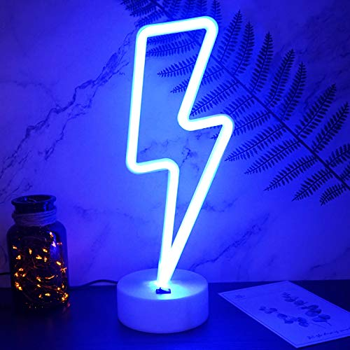 YIVIYAR Lightning Bolt Neon Sign, USB Cable/Battery Blue Neon Light Cool Things Kids Room Decor for Boys Bedroom Lighting Cool Lamps for Teens Bedroom Cool Gadgets Cool Room Decor(Lightning)