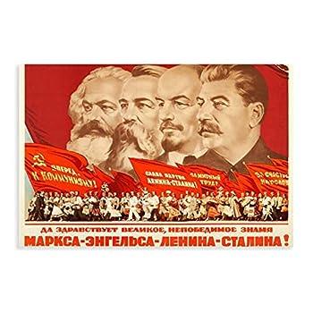 Marx Engels Lenin Stalin s Soviet Propaganda Canvas Poster Bedroom Decor Sports Landscape Office Room Decor Gift 08×12inch 20×30cm  Unframe-style1