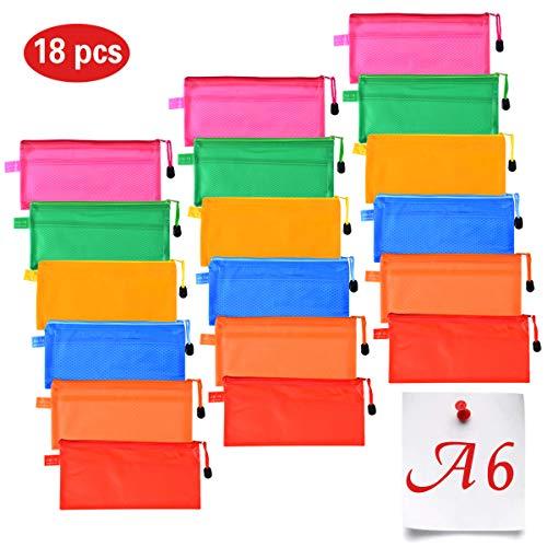 Queta 18 Pezzi Borsa File Astuccio Scuola PVC Impermeabile, A6 6 Colori Cartellina con Cerniera Portadocumenti Busta per Cosmetici Uffici