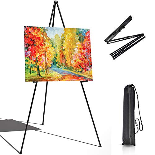 """T-SIGN Instant Display Easel Stand - 63"""" Tripod Collapsible Portable Artist Floor Easel - Easy Folding Telescoping Adjustable Art Poster Metal Stand for Display Show"""