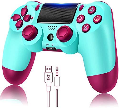 Wireless Controller für PS4, Game Controller Joystick für PlayStation 4 mit USB-Kabel, Berry Blue