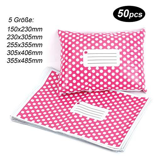 50st Versandtaschen Versandbeutel Versandtueten Blickdicht, Pink Polka Dots, 255x355MM