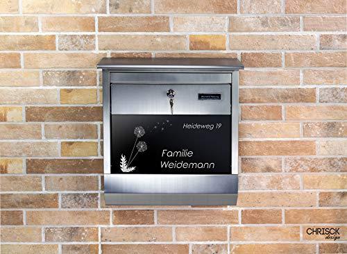 Edelstahl Briefkasten mit Namensschild aus edlem Hochglanz Acrylglas + Gravur Zeitungsfach Postkasten Mailbox