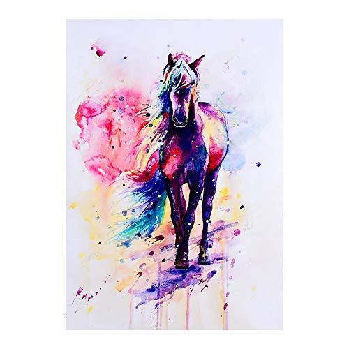 Mumusuki Aquarell Pferd Tier Kunst Ölgemälde Wandbild Home Office Dekoration Wohnzimmer(40 * 57cm)