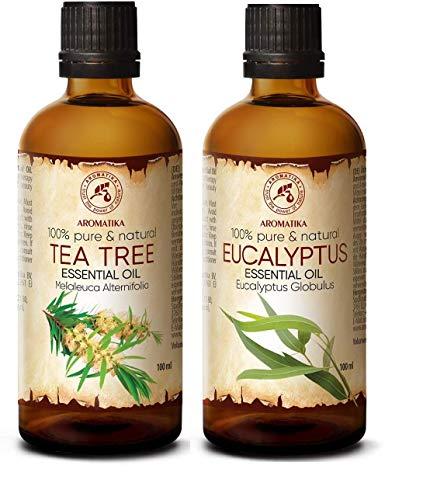 Teebaumöl 100ml und Eukalyptusöl 100ml Ätherische Öle Rein & Natürlich für Diffuser - Sauna - Aromatherapie - Duftlampe - Entspannung - Raumduft - Körperpflege