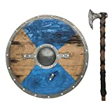 LOOYAR Viking Age Middle Ages Medieval Round Shield and Hand Axe Weapon Toy for Berserker Soldier Warrior Costume Battle Play Halloween Cosplay LARP Blue
