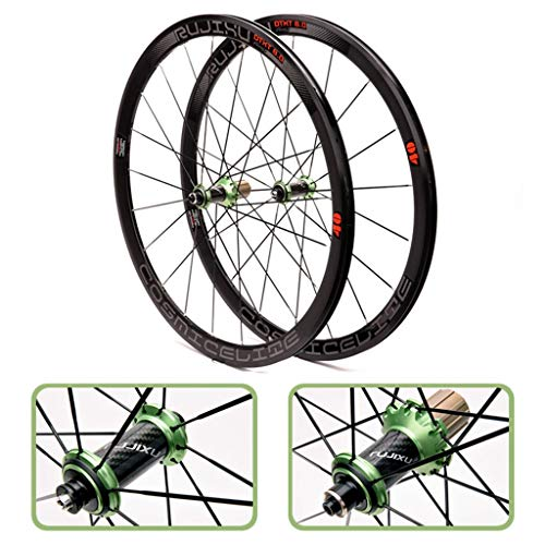 ZNND Ultra-Light 700C Fahrrad-Rad-Set 40mm Carbon-Faser-Schlauch-Hub Rennrad Laufradsatz V/C Brems (Color : Green)