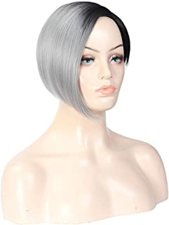Natural Short Bob Ombre Grey Wigs with Side Bangs Synthetic Straight Gray Pixie Cute Heat Resistant Hair Full Wig for Women Dark Roots Gray Hair Fashion Wig