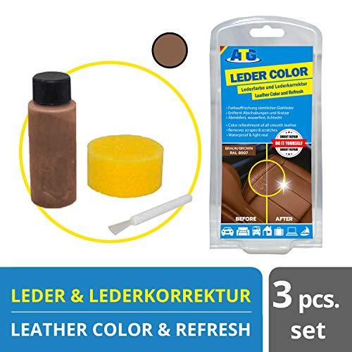 ATG Autozubehör-Teile-Gerl Leder aufbereiter | Ledercolor | entfernt Kratzer auf Ledercouch | Leder Farbe Set Sofa mit Schwamm und Pinsel Braun