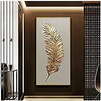 ゴールデンフェザーモダン抽象キャンバス絵画ホームウォールアートウォールチャートデコレーション画像油絵(フレーム付き)