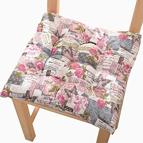 Yuly Dining Seat Cushions Kitchen Garden 100% Cotton Chair Pads Chair Pads with Non-slip Straps Set of 4 Chair Cushions For Indoor Outdoor
