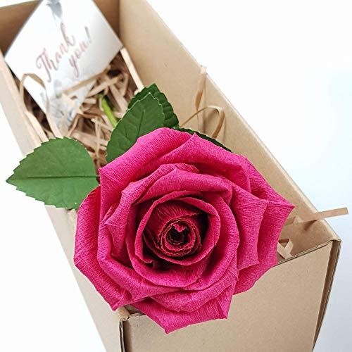 Rose aus Papier - Ewige Papierrose - Infinity Rosen als Geschenk für Frauen zu Geburtstag, Hochzeit, Valentinstag - Edle Kunstrose als Deko (magenta rot)