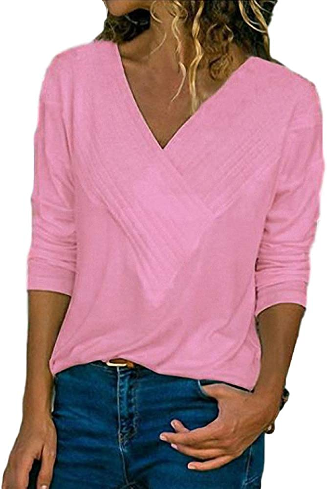 Women's Spring and Autumn Casual Tops Slim Long Sleeve Sexy V-Neck Pullover