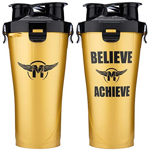 Hydra Cup - 36oz High Performance Dual Shaker Bottle, 2 in 1, 14oz + 22oz, Leak Proof, Awesome Colors, Patented PRE + Protein Shaker Cup, Save Time & Be Prepared, Makaveli Gold