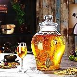 Jugo Leche Bebida Fría Dispensador con Metal Espiga De Madera De Base Tapón Hermético Fácil De Limpiar for La Limonada/Té/Agua Fría ~ (Color : 10L, Size : Copper Spigot)