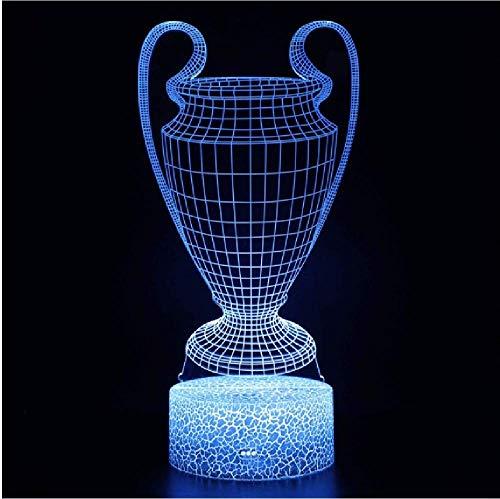 Copa de fútbol 3D Ilusión óptica LED Luces nocturnas Tema de fútbol Lámpara de escritorio Regalos creativos para fanáticos del fútbol