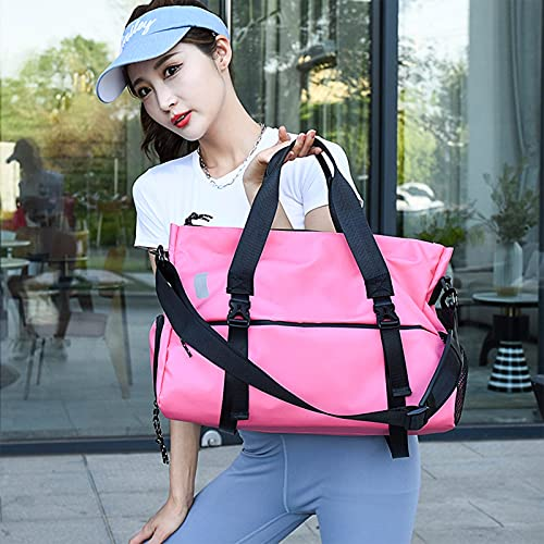 Mochila de natación Bolsa Deporte Mochila Impermeable para Actividades Deportivas Macuto con Zapato y Compartimento Húmedo- Diseño de Etiquetas - Diseño de Cinta Reflectante Pink-42x25x30cm