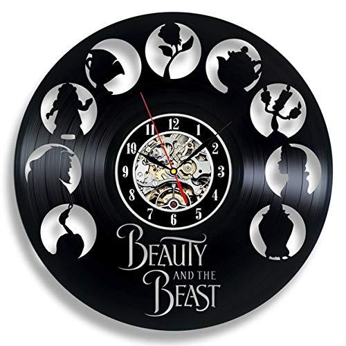 Mdsfe Vintage Vinyl Wall Clock Modern Design Cartoon 3D Stickers Beauty and The Beast Hanging Clocks Wall Watch Home Decor Silent 12'- 12