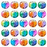 PandaHall 100 cuentas de cristal de Murano de 15 x 12 mm Rondelle gran agujero de cristal europeo con núcleo de color plateado para la fabricación de joyas