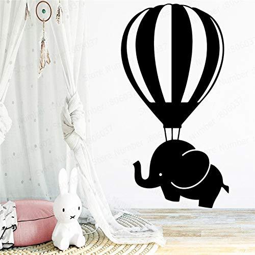 yaonuli Elefant Heißluftballon Wandaufkleber Kinderzimmer Dekoration Vinyl Aufkleber Schule Schlafzimmer Wandbild 54x84cm