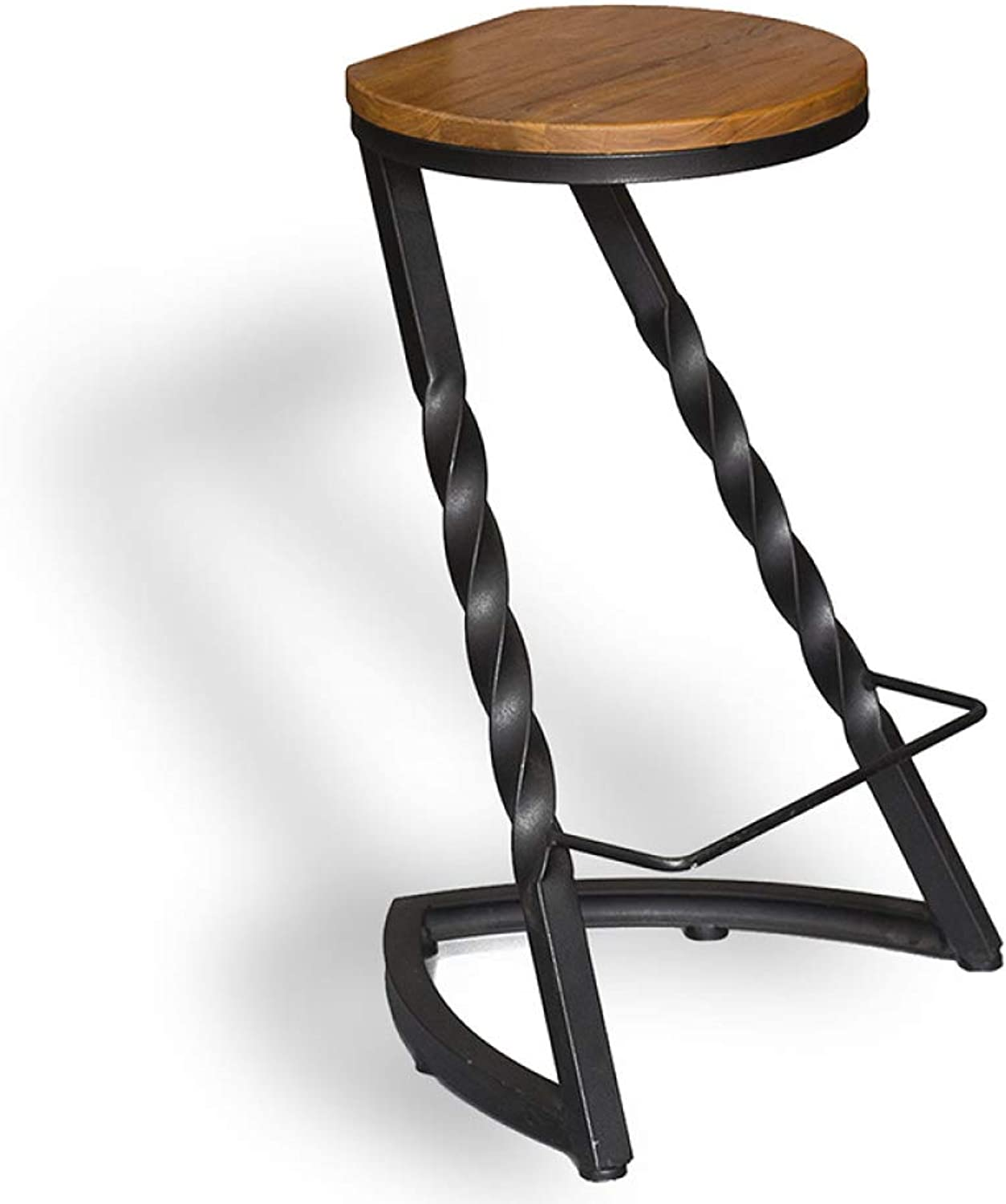 Vintage Counter Bar Stools Barstools Cafeteria Dining Chair High Stool with Black Metal Frame and Solid Wood Seat Industrial Style, Seat Height  74cm (A)