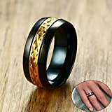 XINYIU Herren-Ring, Gold und Schwarz, zweifarbig, Edelstahl, Hochzeitsring, Accessoire, 10