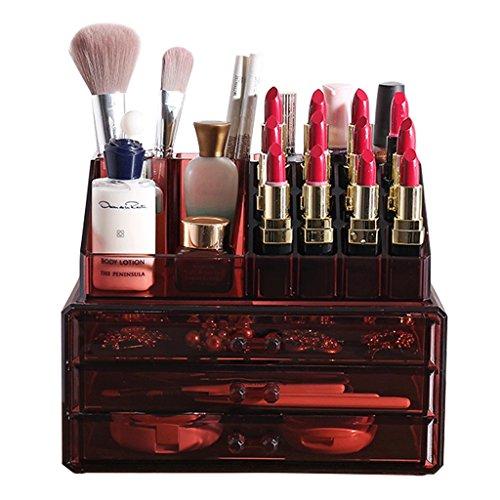 Make-Up Etuis Cosmétique Organisateur cosmétique boîte de Rangement Maquillage Pinceau Stockage Tube tiroir Transparent (Color : Red, Size : 23.5 * 13.5 * 19cm)