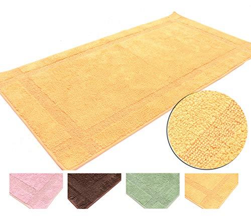 Soft Tappeto Cotone Lavabile Bagno 70x130 Semplice e Pratico Gommato Vari Colori Lavabile in Lavatrice 30° (Yellow, 70x130cm)
