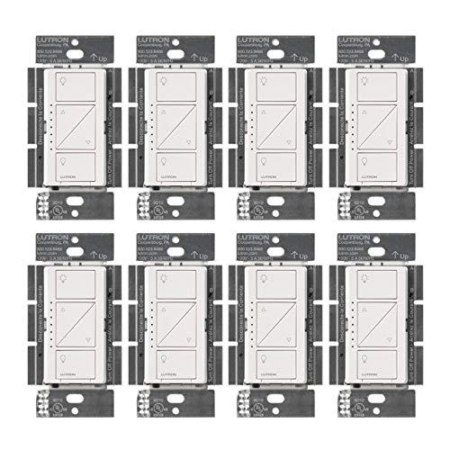 Lutron PD-6WCL-WH Caseta - Regulador de intensidad de iluminación inteligente inalámbrico, color blanco (8 unidades)